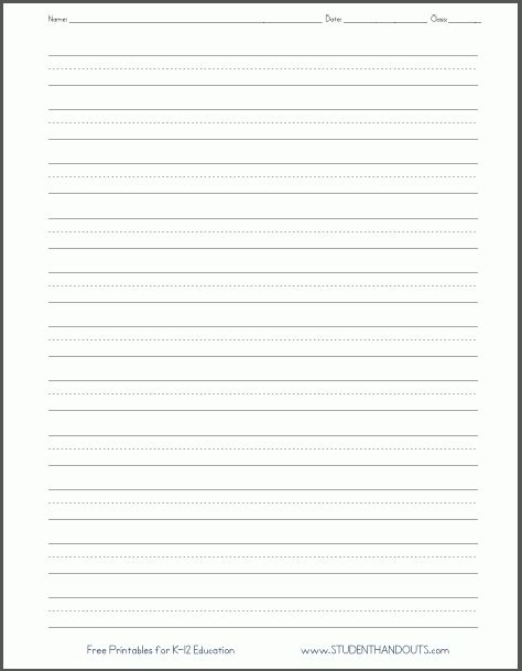 printable lined paper for elementary students world of label
