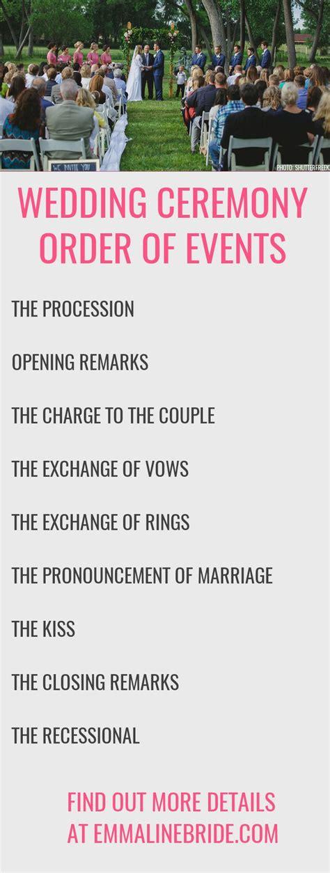 plan  ceremony order   http