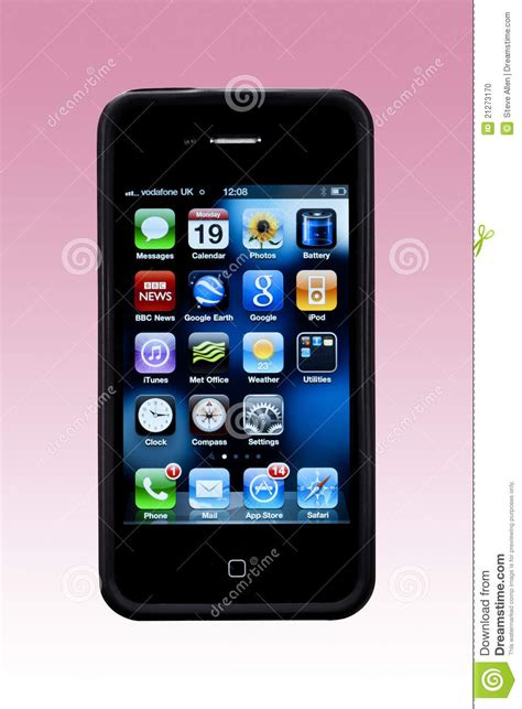 iphone screen on mac apple iphone 4s apps screen smartphone editorial image