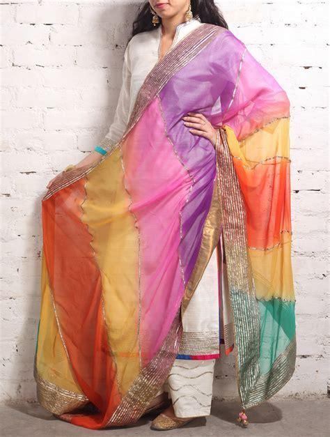 Buy Multi Color Gota Dupatta Online at Jaypore.com