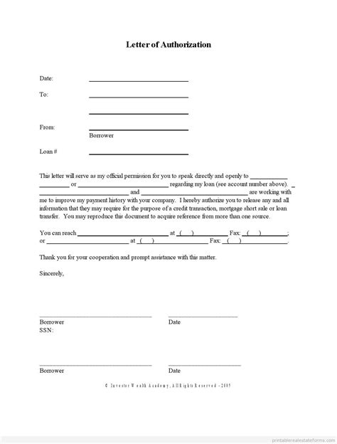 sle of authorization letter free printable letter of authorization form