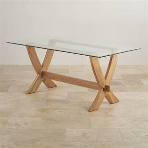 Reflection Crossed Leg Dining Table with Glass Top in ...