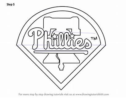 Phillies Philadelphia Draw Drawing Coloring Baseball Mlb