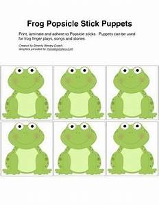 frog popsicle stick puppets for 5 little frogs song With frog finger puppet template