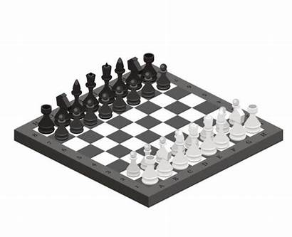 Chess Board Pieces Vector Clip Strategy Isometric