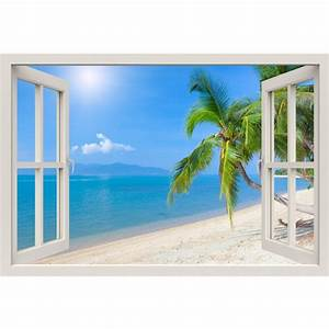 Window Frame Mural Tropical beach with coconut palm