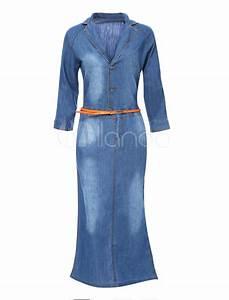 Vestido largo de tela vaquera de color azul de manga corta - Milanoo.com