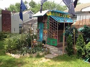 The tiki bar entry through the bamboo arch. Pirate ...