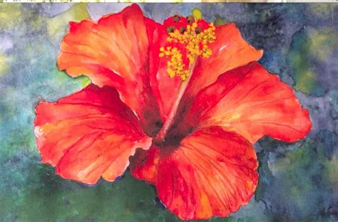 watercolor painting on plexiglass easy by tutorial how to paint hibiscus flower