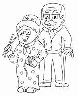 Grandparents Coloring Happy Sheets Printable Grandparent Colouring Parents Grandma Cartoon sketch template