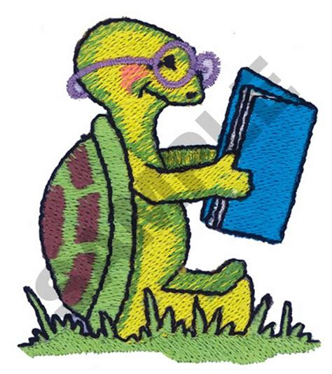 animals embroidery design turtle reading  great notions