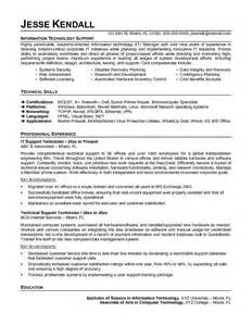 it support resume exles 2014 exle information technology support technician resume sle