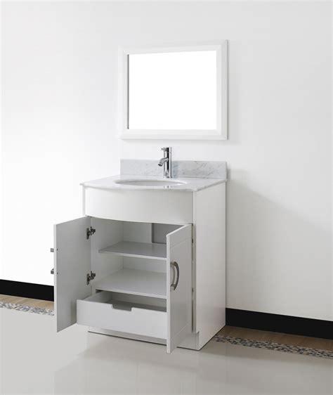 """Zoe 28"""" Small White Bathroom Vanity Stone Countertop"""