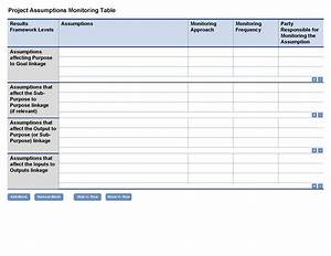 Project assumptions monitoring template optional for Project monitoring plan template