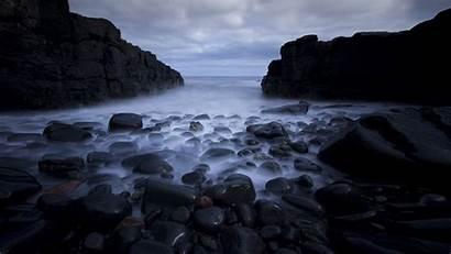 4k Dark Rocks Sea Desktop Wallpapers Ultra