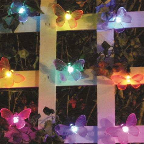 solar string lights 20 led color changing butterflies