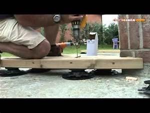 pose sur plot et lambourde 60x80 sur dalle beton youtube With fixation lambourde terrasse bois