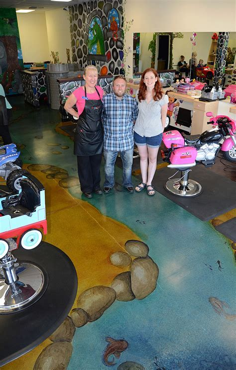 Kid's Hair Salon Awash with Artistically Stained Concrete