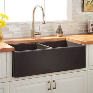 copper apron sink 33 quot reinhard bowl fireclay farmhouse sink