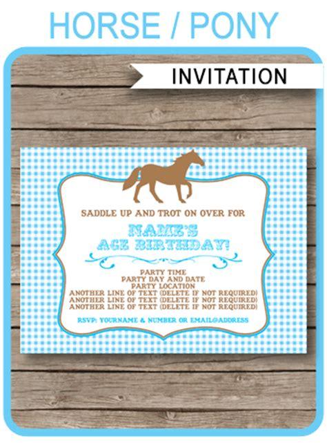 horse birthday party invitations pony party