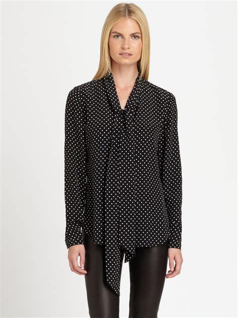 polka dot blouses ralph black label silk polka dot blouse in black