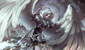 Wings Artwork Spear Cape Hery Wings Anime Angel Armor ...