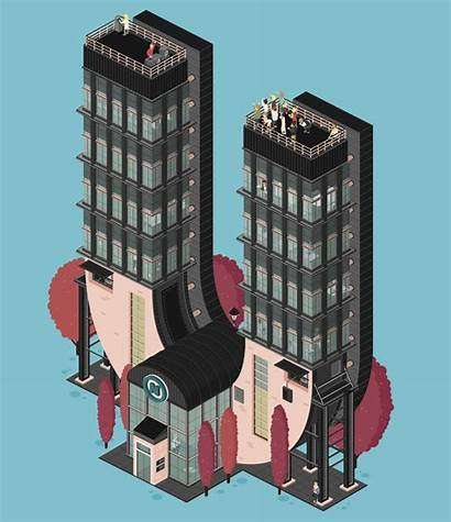Animation Trifft Typografie Architektur Agentur Wimmelbild Comic
