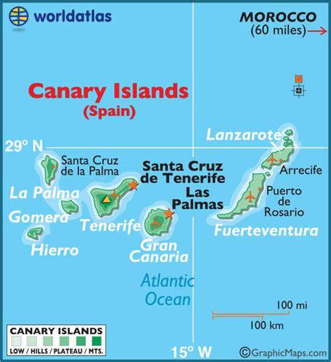 canary islands large color map