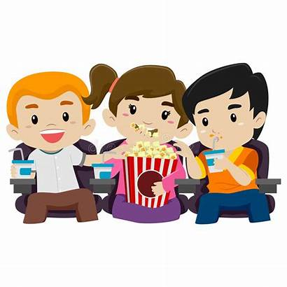 Watching Popcorn Eating Vector While Illustration Clipart