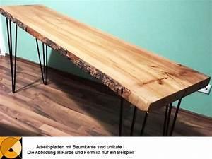 Tischplatte Mit Baumkante : arbeitsplatte mit baumkante massivholz ~ Frokenaadalensverden.com Haus und Dekorationen