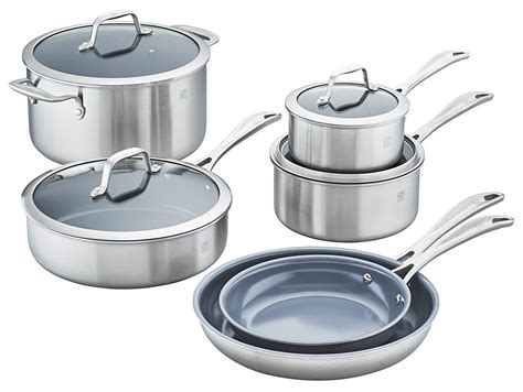 cookware zwilling ceramic pc spirit stainless steel nonstick henckels ply sets pans kitchen coated piece stick non walmart amazon cook