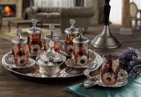 latest model silver plated turkish arabic tea set
