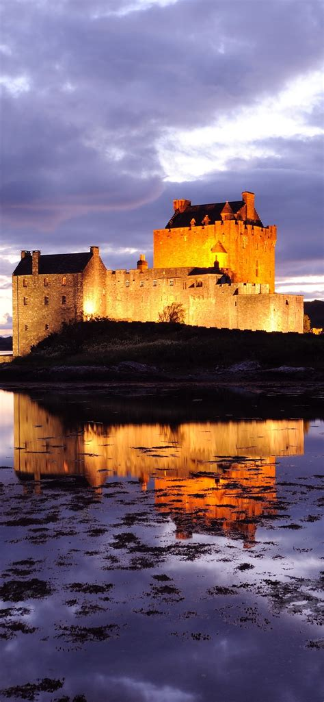 wallpaper scotland castle illumination lake night