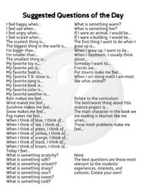 daily circle time discussion questions pose one question 546 | ea800196a2c8d87628cc36b325984569 all about me questions restorative justice circles