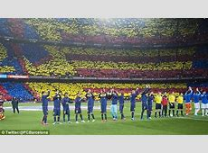 Barcelona fans form spectacular mosaic at the Nou Camp