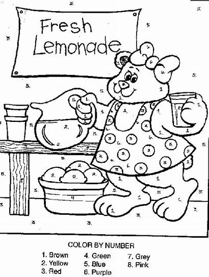 Lemonade Coloring Stand Number Pages Bear Printable
