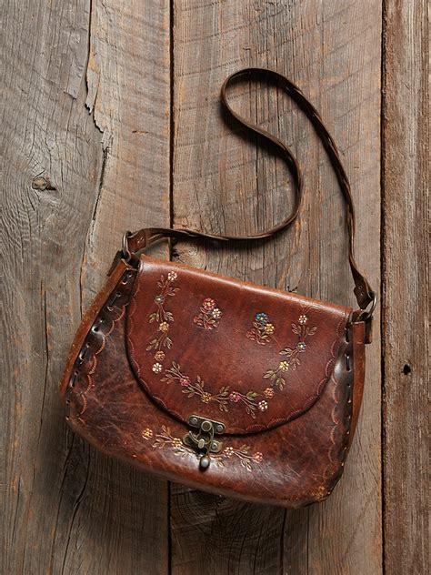 lyst  people vintage tooled floral leather bag  brown