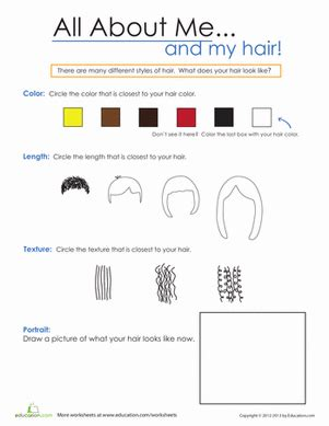 all about my hair worksheet education com