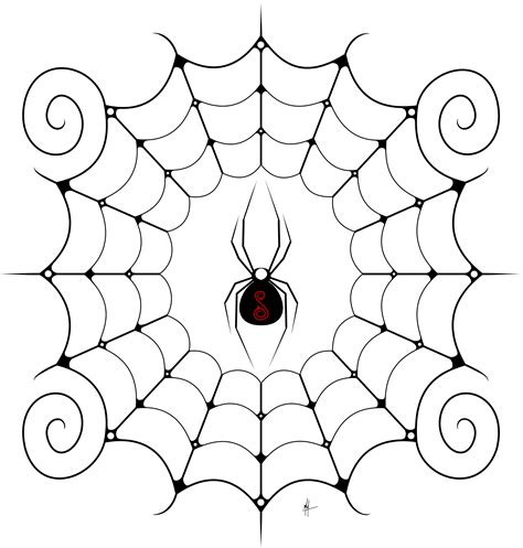 spider web drawing with spider swirly black widow and web masonillustration