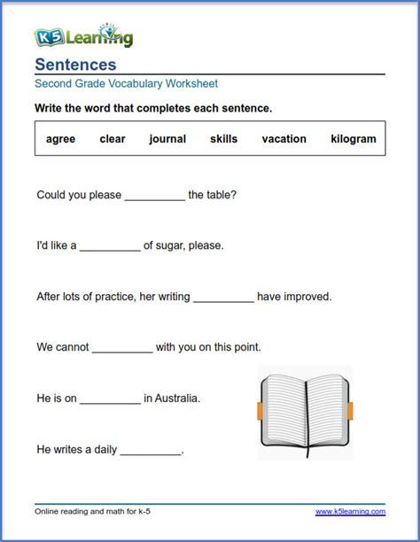 grade 2 vocabulary worksheet fill words in sentences