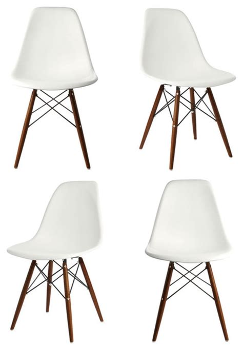 dsw white mid century modern plastic dining shell chair w