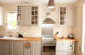Cuisine Beige Et Bois : couleur mur cuisine avec meuble bois avec cuisine meuble ~ Dailycaller-alerts.com Idées de Décoration