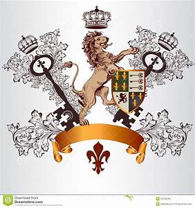 Heraldic Design With Coat Of Arms, Lion And Shield In ...