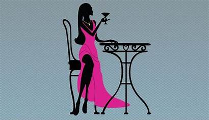 Silhouette Wine Drinking Clipart Pink Vector Woman