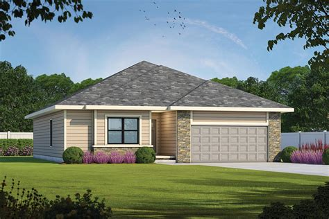 bedroom ranch home plan hip valley roof db architectural designs house plans