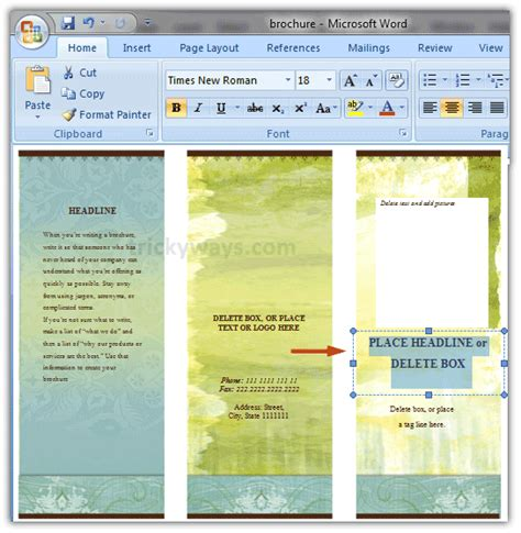 how to make a trifold pamphlet in word create brochure in word 2007 or 2010 make brochure