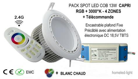 Spot Led Encastrable Plafond Pack Spot Led 13w Fixe Rgb Blanc Chaud Encastrable Plafond Et Sa T 233 L 233 Commande Rf