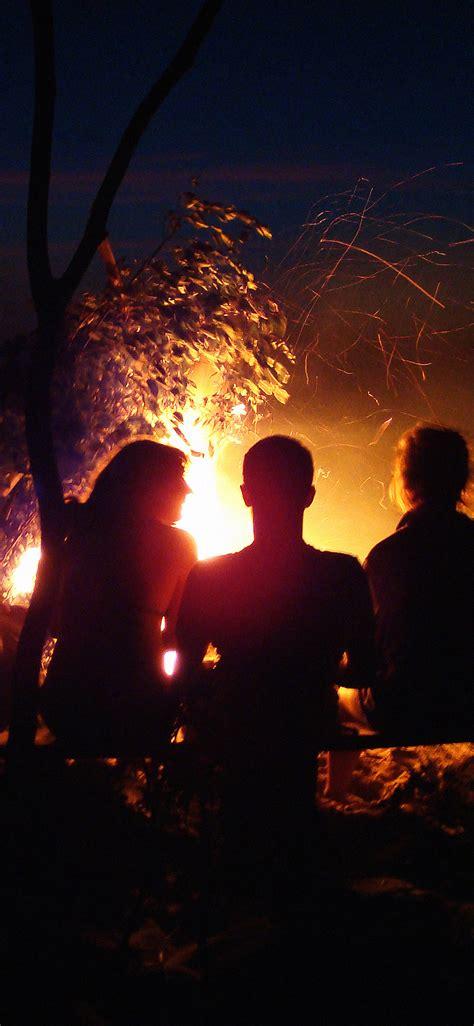 mc wallpaper beach bonfire night camp papersco