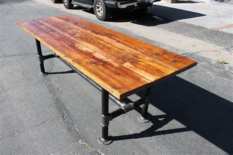 steel pipe desk legs rustic reclaimed wood table with industrial pipe legs