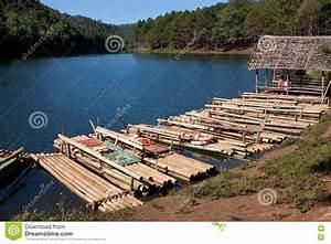 Thai Raft In The Lake Stock Photo - Image: 13594340